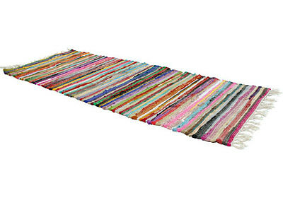 RAG RUG RUNNER Recycled Fabric Handmade Fair Trade Indian 8ft / 240 X 75cm NEW! • 29.99£