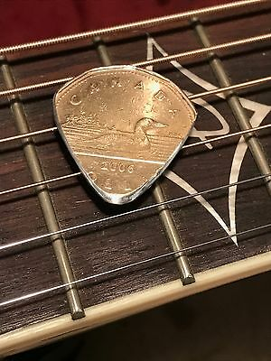 $ CDN10.32 • Buy Hand Cut Guitar Pick From A Canadian Loonie Coin Hand Cut And Polished