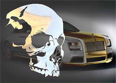 $4.99 • Buy CHROME Skull Decal Sticker For Macbook IPad Laptop Motorcycle JDM Car 4x4 Truck