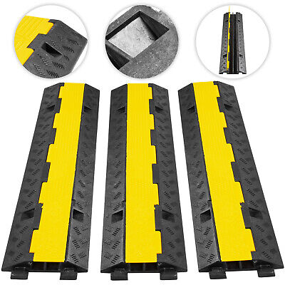 3 Pack Of Rubber 2-Channel Cable Protectors Ramp Floor Cover Protector • 54.93£