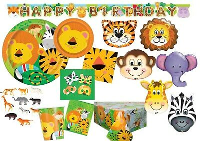 Jungle Animal Lion Tiger Monkey Safari Birthday Tableware Supplies Decorations • 0.99£