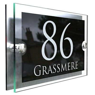 Contemporary House Sign Plaques Door Number 1 - 9999 Personalised Name Plate • 9.99£