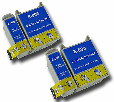 4 T007/08 Non-OEM Ink Cartridge For Epson Stylus Photo 870 875 875DC 890 895 • 21.99£