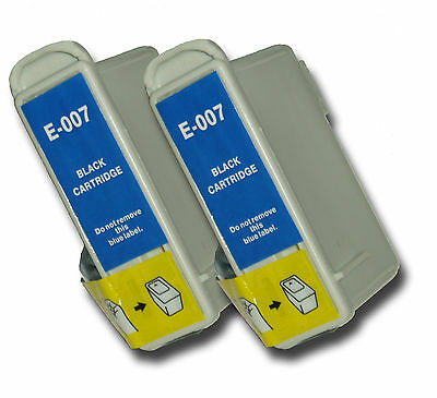 2 T007 Black Non-OEM Ink Cartridges For Epson Stylus Photo 900 915 1270 1275 • 5.99£