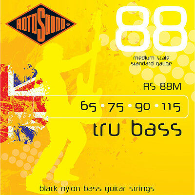 $ CDN37.58 • Buy Rotosound RS88M Black Nylon Flatwound Medium Bass Guitar Strings (65-115)
