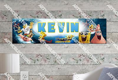 Personalized/Customized SpongeBob Movie Name Poster Wall Art Decoration Banner • 11.19£