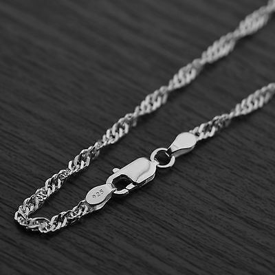 Genuine 925 Sterling Silver 2.4mm Twisted Curb Singapore Chain Necklace • 6.25£