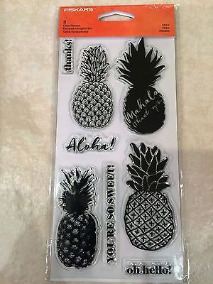 £3.77 • Buy Clear Acrylic Stamp Set By Fiskars Stamps Aloha Pineapple NEW
