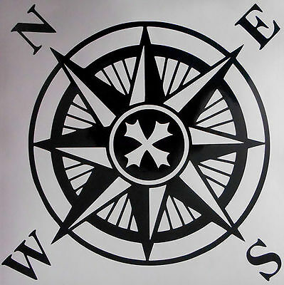 Compass Rose Wall Art Sticker, Bathroom, Boat, Caravan, Nautical  • 3.10£
