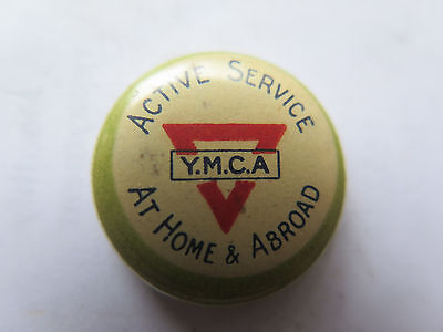 AU19 • Buy WORLD WAR I YMCA ACTIVE SERVICE AT HOME & ABROAD TINNIE BADGE C1915
