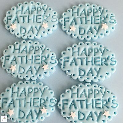 6 Fathers Day Blue Edible Cupcake Toppers Cake Decorations Sugar Embossed Plaque • 3.99£