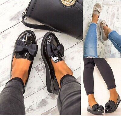 £15.99 • Buy Womens Ladies Flat Creeper Chunky Sole School Work Dolly Loafers Bow Shoes Size