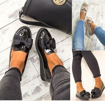 Womens Ladies Flat Creeper Chunky Sole School Work Dolly Loafers Bow Shoes Size • 15.99£