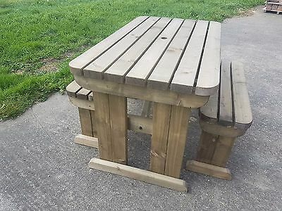 Picnic Table And Bench Set Wooden Outdoor Garden Furniture, Yews Compact Rounded • 193.20£