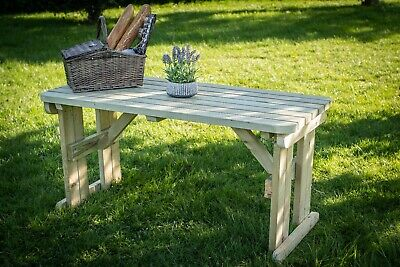 Picnic Table Hollies Rounded Wooden Outdoor Garden Furniture Heavy Duty • 164£