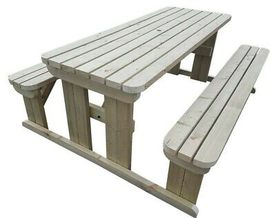Picnic Table And Bench Set Wooden Outdoor Garden Furniture, Abies Rounded • 204£