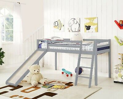 Kids Bunk Bed Mid Sleeper With Slide And Ladder Wooden Cabin Bed • 209.99£