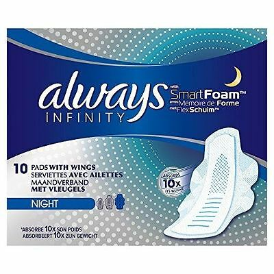 £6.83 • Buy Always Infinity With Smart Foam 3 Night Sanitary Towels With Wings 10 Pads