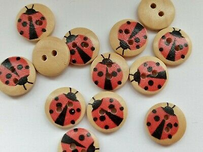6 Ladybird Buttons 18mm (3/4 ) Wooden Ladybug Childrens Sewing Buttons Crafts • 2.25£