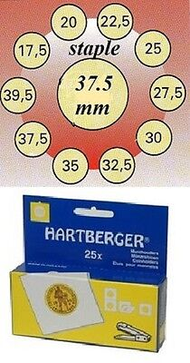 AU3 • Buy 25 HARTBERGER Staple  2 X 2 Coin Holders: 37.5 Mm Made In The Netherlands