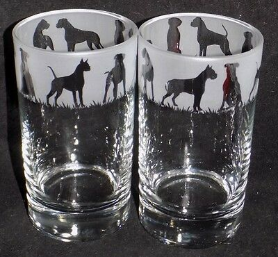 New Etched  BOXER DOG  Hiball Glasses -Beautiful Gift - Free Gift Box • 10.99£