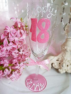 Personalised Hand Painted Birthday 16th 21st 18th 30th 40 50 Wine Glass Gift Dad • 12.49£