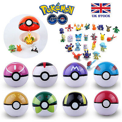Pokemon Pokeball Pikachu Figures Inside Toy Kids Poke UK STOCK !! FAST & FREE • 4.99£