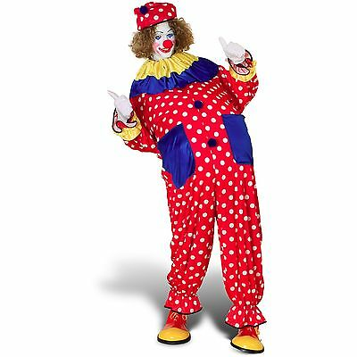 $ CDN46.26 • Buy Clown Costume Adult 3 Pc Red & White Polka Dot Jumpsuit Collar & Hat One Size