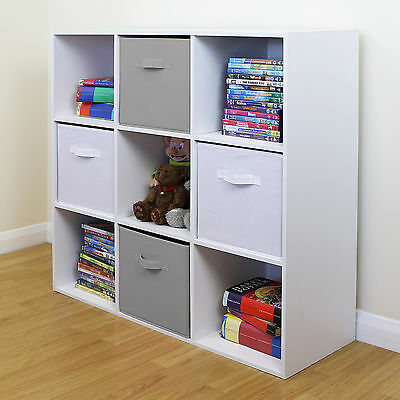 9 Cube Kids Grey & White Toy/Games Storage Unit Girls/Boys Bedroom Shelves/Boxes • 66.99£