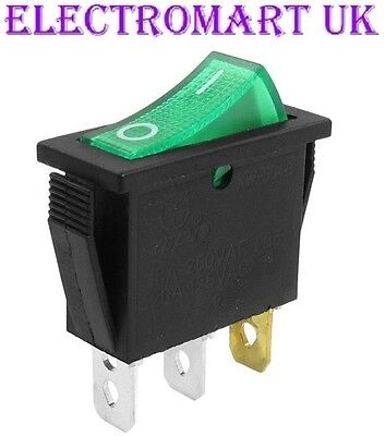 Spst Illuminated Neon Green Rocker Switch On Off 16 Amp 240 Volt Ac • 2.90£