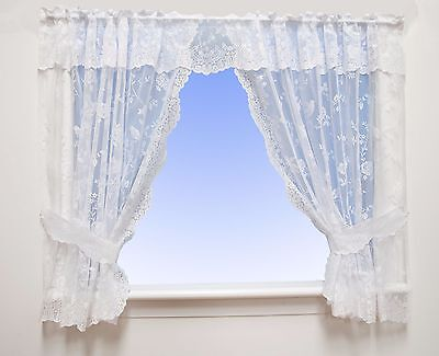 £11 • Buy Robyn - Floral Net Curtain Window Kitchen Set In White - Voile & Net Curtains