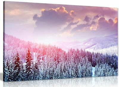 Winter Forest Snow Trees Canvas Wall Art Picture Print • 34.99£