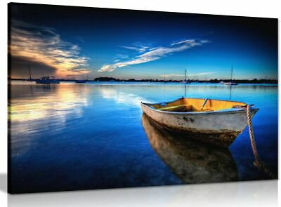 Landscape Blue Boat On Sea & Sky Painting Canvas Wall Art Picture Print • 19.99£