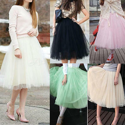 £8.99 • Buy 5 Layer Tulle Skirt Vintage Dress 50s Rockabilly Tutu Petticoat Ball Gown