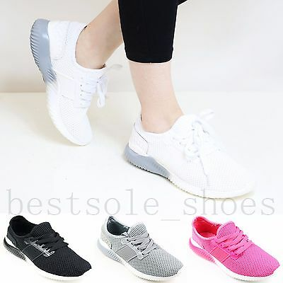 Ladies Womens Girls Flat Lace Up Plimsolls Pumps Gym Running Trainers Shoes Size • 10.99£