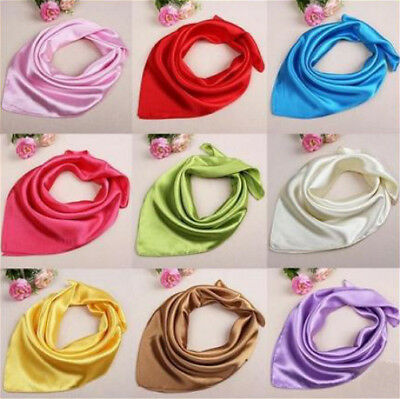 AU7.99 • Buy Lady Women Satin Silk Square Plain Scarf Scarves Headband Bandana Handle Wrap