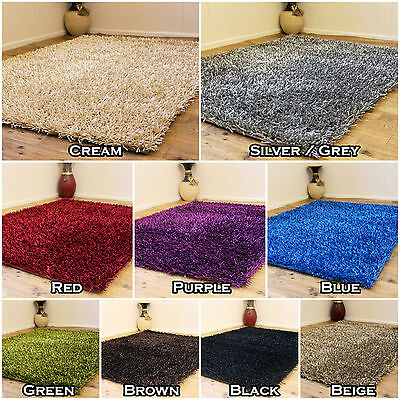 £46.74 • Buy Modern Small To Large 3cm Very Thick - Multi Colour Sparkle Non Shed Shaggy Rugs