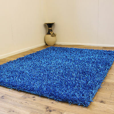 £76.49 • Buy Modern Small Large 3cm Thick Pile Blue Plain Sparkle Sale Discount Shaggy Rugs