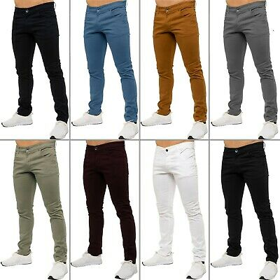 £9.99 • Buy Mens Slim Fit Chinos Trousers Jeans Skinny Stretch Pants Kruze All Waist Sizes