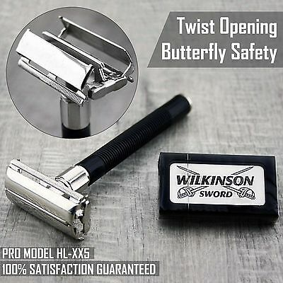 $13.36 • Buy Butterfly Safety Razor & 5 Wilkinson Double Edge Blades Classic Shaving Vintage
