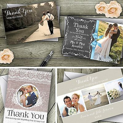 £15.99 • Buy Personalised Wedding Thank You Cards With Photo + Envelopes