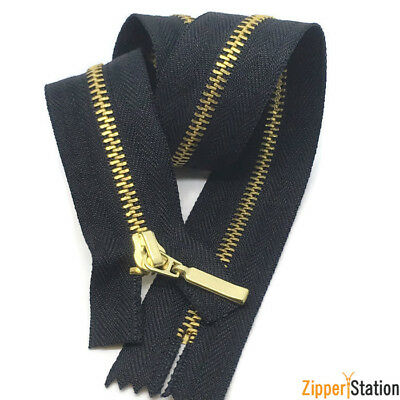 Black Zip With Metal Gold Teeth. Closed End  No 3 Brass Zips. 60cms To 10cms • 3.75£