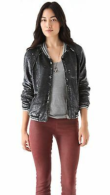 $ CDN330.81 • Buy NWT IRO Queeny Sequin Baseball Varsity Stripe Bomber Jacket 0 XS 34