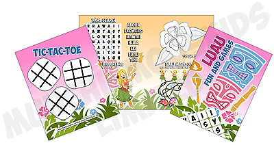 Pack Of 12 - Luau Hawaiian Fun And Games Activity Sheets - Party Bag Fillers • 2.16£