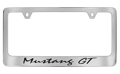 Ford Mustang GT Script Logo Chrome Plated Metal License Plate Frame Tag Holder • 31.95$