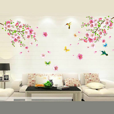 £3.50 • Buy  Peach Blossom Butterfly Wallpaper DIY WALL DECALS Stickers Home Deco