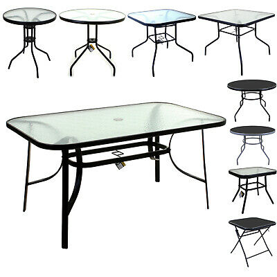 Marko Glass Top Tables Metal Frame Legs Garden Outdoor Indoor Bistro Cafe • 39.99£