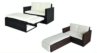 Rattan Love Bed Sofa Outdoor Cushion Pillow Furniture Stool Black / Brown / Grey • 199.99£