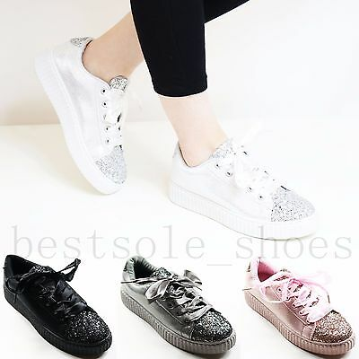 Women Ladies Glitter Flats Plimsolls Wedge Chunky Lace Up Trainers Creepers Size • 7.99£