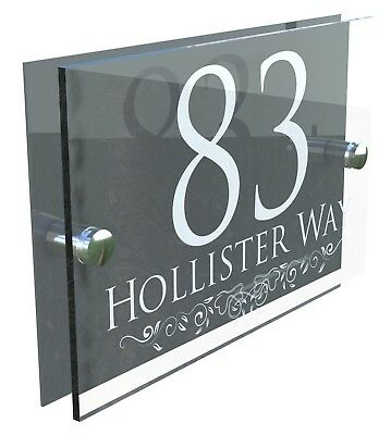 Contemporary House Signs Plaques Door Numbers 1 - 999 Personalised Name Address • 9.99£